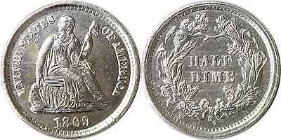 1869-S 1/2D Liberty Seated Half Dime Uncirculated Details