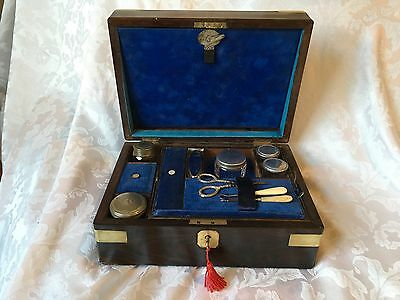Delightful  William Iv Rosewood Vanity Box, With Silver Content, Lock And Key