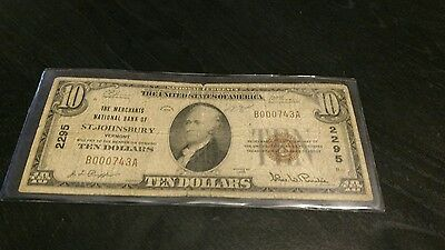 the merchants national bank of st johnsbury vermont $10