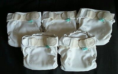5 x tots bots flexitot size 2 reuseable cloth nappies - great condition
