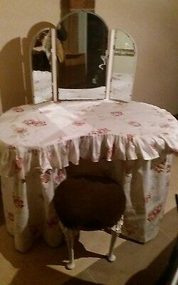 dressing table with mirror and stool. Vintage kidney shape dressing table
