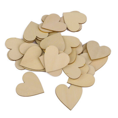 25pcs Wooden Blank Heart Embellishments Scrapbooking for DIY Crafts 50 x 3mm
