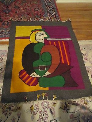 Vintage  Hand Woven Wool Abstract Art Rug or Wall Hanging  Picasso?