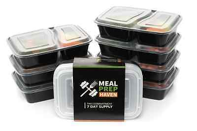 Food Containers X7, 2 Compartment Food Storage tubs, Muscle Prep, Lunch Box