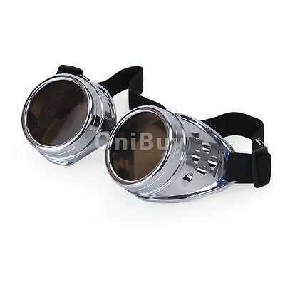 Cyber Goggles Lunette Steampunk Classique Goth Cosplay Vintage Style - Argent