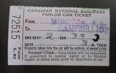 Canadian National Railways Rail Parlor Car Ticket 1929