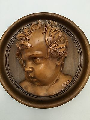 Stunning carved Baroque Cherub/putti  medaillon in wood
