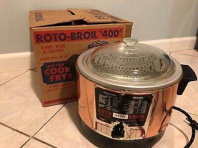 VINTAGE ROTO-BROIL 400 New  AUTOMATIC COOKER ~ DEEP FRYER~ SLOW COOKER