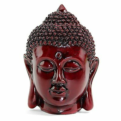 "Feng Shui 5"" Red Meditating Buddha Head Figurine Peace Statues Home Decor"