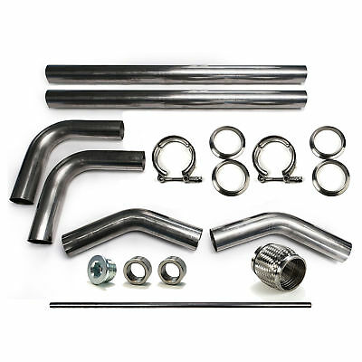 "2.5"" 304 Stainless Mandrel Bend DIY Kit Exhaust V-Band Clamp Flex Pipe 90 45 O2"