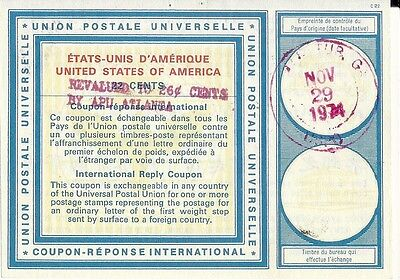 US INTERNATIONAL REPLY COUPON Type C22 ATLANTA, GA. USPO NOV. 29, 1974 OVERPRINT