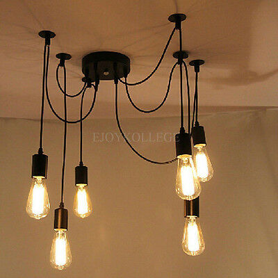 6 Light Spider Cords Vintage Industrial Kitchen Haning DIY Ceiling Pendant Lamp