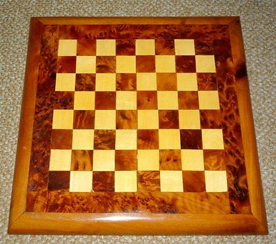 Antique Small Hand-crafted Birdseye Mable & Inlaid Wood Chess Board