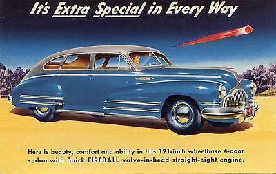 Vintage Advertising Postcard for the 1942 Buick Fireball Automobile
