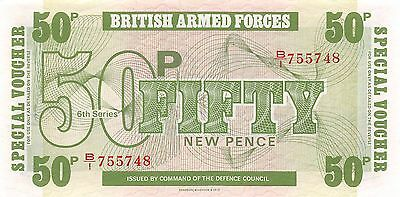 British Armed Forces 50 Pence  ND. 1972  Series 6th  Uncirculated Banknote E11D