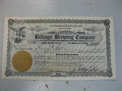Antique 1912 Billings Brewing Company Stock Certificate Montana Beer Yellowstone