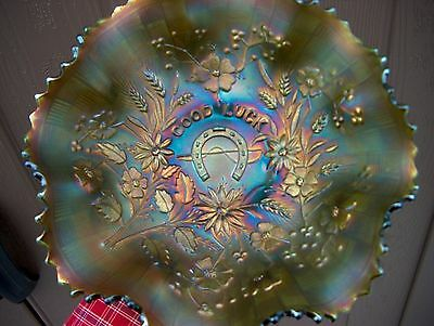 Beautiful Northwood Good Luck Bowl In Scarce Green Mint L@@k