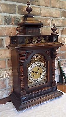 Antique Large Badische Ornate Bracket Mantel Clock Great Craftsmanship Runs