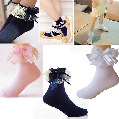 Ankle Sweet Baby Girls Princess Socks Big Bow Lace Frilly Ruffle Cotton
