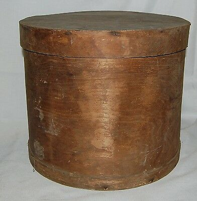 "Antique Christrup Round CHEESE WHEEL BOX Wood Crate & Lid 13"" Tall  15"" Diameter"