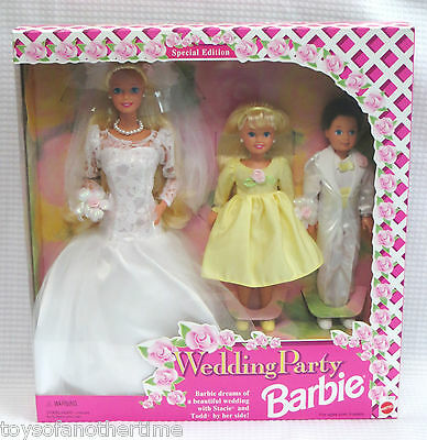 Wedding Party Barbie Bride Stacie Todd Deluxe Gift Set 3 Dolls NRFB 1994 MIB