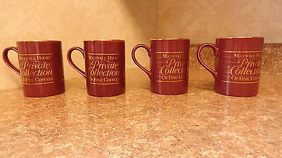 4  New Dark Brown Mugs Maxwell House Private Collection Of Fine Coffees Japan