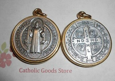 SAN BENITO Medalla / SAINT Benedict Cross SILVER/GOLD Tone -XLg - Made in Italy