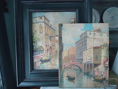 """Antique/Vintage 1952 Pair of Venice Scenes Signed Oil Painting 14"""" x 18"""""""