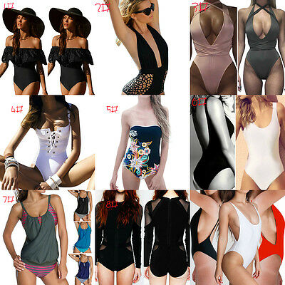 Sexy Women One Piece Bikini Monokini Swimsuit Padded Backless Swimwear Beachwear