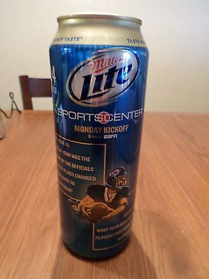 Miller Lite Sports Center Monday Kickoff Football 24 oz Stay Tab Beer Can