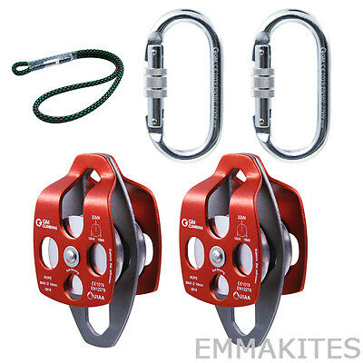 32kN Twin Sheaves Pulleys Set for 4:1 and 5:1 Block and Tackle System Hauling