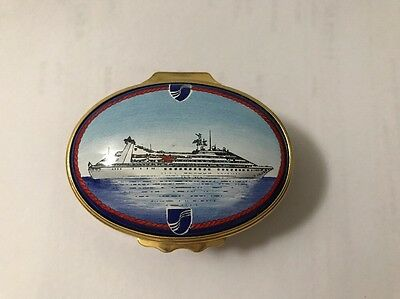 Halcyon Days Enamel Box Seabourn Cruise Line Oval Rare HTF Red