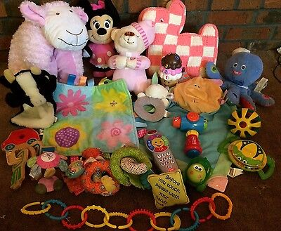 HUGE Baby Infant Developmental Toy Lot Musical Girl TAGGIES FISHER PRICE & MORE