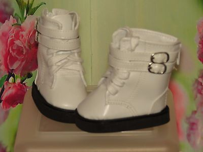 Shoes 2 Fit  Galoob Baby Face American Girl Doll White Buckle Tie Trendy Boots