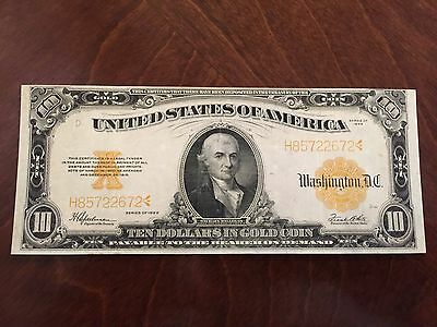 1922 $10 Ten Dollar Gold Certificate LARGE Currency Note Circulated