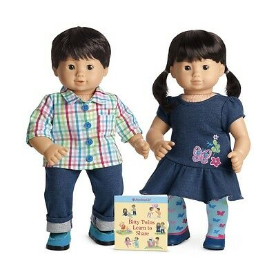 American Girl Bitty Twins Boy Girl Light Skin Black Hair Asian Oriental Chinese