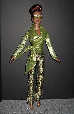 TONNER Tyler W Clothes~Olive Metallic Wrap Top+Embroidered Slacks+Sunglasses