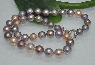 GRGEOUS! Natural Rare Multicolor 11mm KASUMI PEARL NECKLACE J12082
