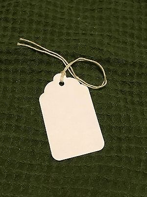 "PRICE TAG WITH STRING -WHITE  1 1/4"" X 2 1/16"" 100 Tags Handmade Hand punched"