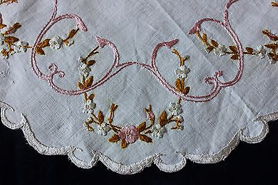 "Antique Silk Society Work Hand Embroidered Flowers On Linen~10"" Round Mat"