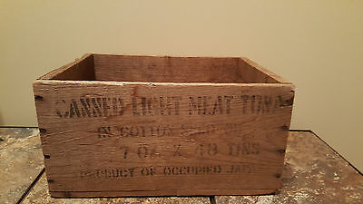 Vtg Wooden Crate Product Of Occupied Japan Canned Light Meat Tuna