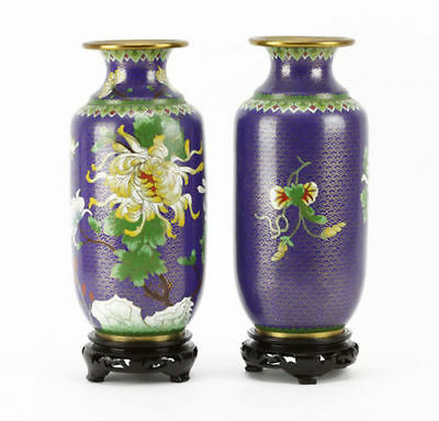 Pair Of Chinese Blue Floral Cloisonne Vases On Wooden Stands