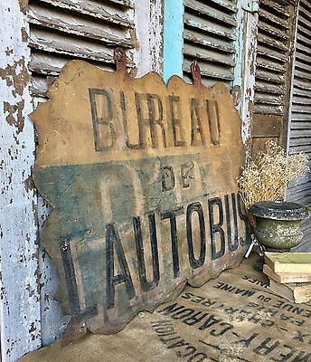 Vintage French Rustic Metal Sign
