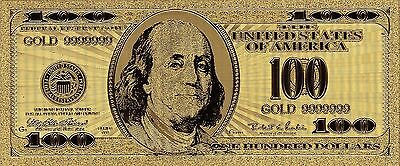 USA  $100 Gold plated 9999999  Uncirculated Banknote
