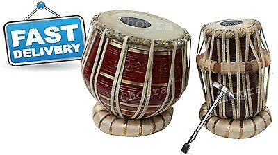 Christmas Sale Tabla Drum Brass Bayan Decorative Wood Dayan Ring+Hammer+Box Free