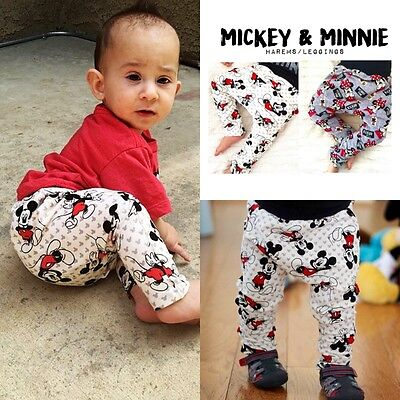 Newborn Baby Boys Girls Harem Pants Mickey Minnie Mouse Bottom Trousers Leggings