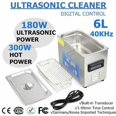 New Stainless Steel 6L Liter Industry Heated Ultrasonic Cleaner Heater w/Timer H