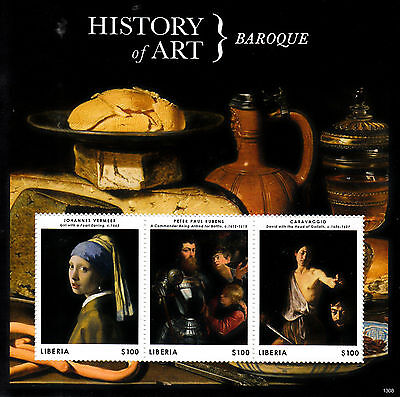Liberia 2013 MNH History of Art Baroque 3v M/S Vermeer Rubens Caravaggio Stamps