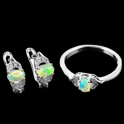 Natural 5X3 Mm Hot Aaa Rainbow Luster Fire Opal,white-Cz Sterling 925 Silver Set