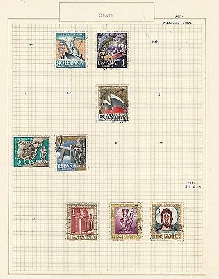 SPAIN 1961.. Collection  on Old Album Page  items removed for Postage